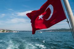 Beautiful View of Bosphorus Coastline with Flag of Turkey in Istanbul. Beautiful Scenic view of Bosphorus Coastline with Flag of Turkey in Istanbul stock photography