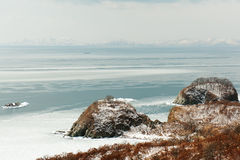 Beautiful scenic view of coast Japanese sea in winter. Stock Photo