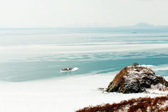 Beautiful scenic view of the coast Japanese sea in winter. Beautiful scenic view of coast Japanese sea in winter Stock Photos