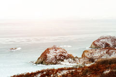 Beautiful scenic view of coast Japanese sea in winter. Beautiful scenic view of coast of Japanese sea in winter Royalty Free Stock Photography