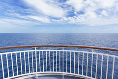 Beautiful and scenic view from a cruise ship deck. A Beautiful and scenic view from a cruise ship deck of the gorgeous deep blue ocean and blue sky stock photography