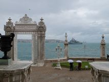 Beautiful scenic view from Dolmabahce Palace at the Bosphorus and Golden Horn gulf royalty free stock photos
