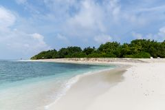 Beautiful scenic view of empty beach and ocean, maldives, thoddoo royalty free stock photography