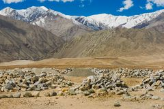 Beautiful scenic view of Himalaya mountain and well rounded stones. Beautiful scenic view of Himalaya mountain and well rounded stones in Leh, Ladakh, India royalty free stock images