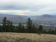Beautiful scenic view of kamloops city from the top of mountain Stock Image
