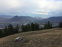 Beautiful scenic view of kamloops city from the top of mountain. Enjoying the beautiful scenic view of kamloops Stock Photos