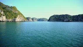 Beautiful Scenic View In Lagoon Halong Bay, Cat Ba Island Vietnam. 4k stock video footage