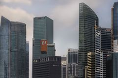 Beautiful scenic view from Marina Bay of modern Singapore cbd central business district blocks hotels and skyscrapers Stock Photography