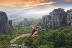 Beautiful scenic view of Meteora valley  and the Holy monasteries Stock Photos