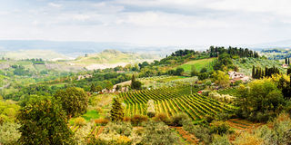 Beautiful scenic view of rolling hillside in Tuscany region of I Royalty Free Stock Photos