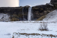 Beautiful scenic view of Seljalandsfos waterfall in Iceland.  Stock Photos