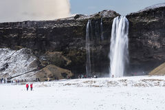 Beautiful scenic view of Seljalandsfos waterfall in Iceland.  Royalty Free Stock Photos