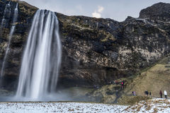Beautiful scenic view of Seljalandsfos waterfall in Iceland Stock Image