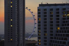 A beautiful scenic view of Singapore flyer attraction behind building blocks under a sunset orange sky evening Royalty Free Stock Images
