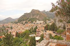 Beautiful Scenic View of Taormina`s Old Town. Terracotta Old Ancient City Houses with Tiled Roofs. The island of Sicily, Italy.  stock images