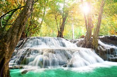 Beautiful scenic of waterfall with autumn forest. Royalty Free Stock Images