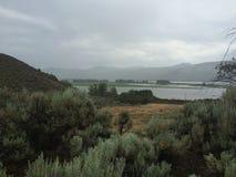 Beautiful scenic wilderness hike. Hiking in the rain Stock Photography