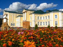 Beautiful school on a background of flowers Stock Image