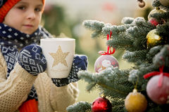 Beautiful school child, boy, holding Christmas mug, drinking tea Royalty Free Stock Photography
