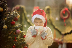 Beautiful school child, boy, holding Christmas mug, drinking tea Stock Photo