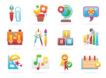 Beautiful School Icons Stock Images