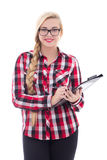 Beautiful schoolgirl in eyeglasses with folder in her hand isola Stock Photos