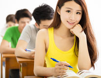 Beautiful Schoolgirl Studying In Classroom stock image