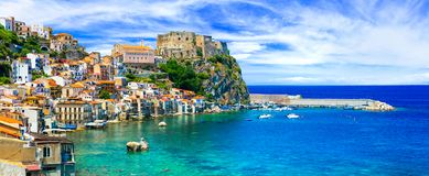 Beautiful Scilla village,panoramic view,Calabria,Italy. Impressive Scilla village,view with sea,houses and old castle,Calabria,Italy stock image