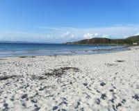 Beautiful Scottish Beach. The beautiful unspoilt white sand beach of Camusdarach near Arisaig on the remote west coast of Scotland Stock Image