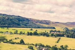 Beautiful Scottish landscape in Summer. Beautiful hills and fields of Scotland stock photos