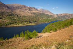 Beautiful Scottish Loch Leven Scotland in summer with mountains sunshine and blue sky Royalty Free Stock Image