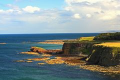 Beautiful Scottish seascape with cliffs Stock Images