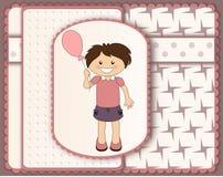Beautiful scrapbook card with cartoon girl Stock Photos