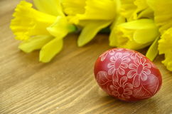 Beautiful scratched handmade Easter egg Stock Photography