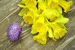 Beautiful scratched handmade Easter egg Stock Images