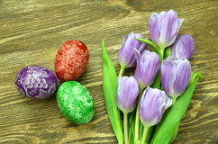 Beautiful scratched handmade Easter eggs Stock Images
