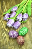Beautiful scratched handmade Easter eggs Stock Image
