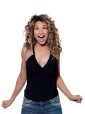 Beautiful screaming happy curly hair Woman. Beautiful caucasian woman joyful screaming portrait isolated studio on white background Stock Images