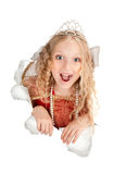 Beautiful screaming princess looking out from the paper Royalty Free Stock Images