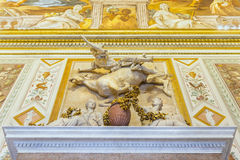 Beautiful sculptural group of man on falling horse in Galleria Borghese.Rome. Royalty Free Stock Photos