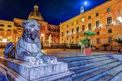 Famous fountain of shame on baroque Piazza Pretoria, Palermo, Sicily. Beautiful sculpture of the famous fountain of shame on baroque Piazza Pretoria, Palermo Royalty Free Stock Images