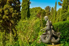 Beautiful sculpture in Santa Clotilde Gardens. Lloret de Mar, Spain - April 11, 2017: Beautiful sculpture in Santa Clotilde Gardens in Lloret de Mar. The Gardens Royalty Free Stock Photography