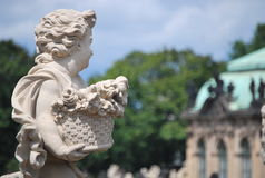 Beautiful sculptures of angels in Zwinger Dresden, Germany. The Zwinger is a palace in the eastern German city of Dresden, built in Baroque style and designed by stock images