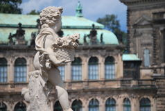 Beautiful sculptures of angels in Zwinger Dresden, Germany. The Zwinger is a palace in the eastern German city of Dresden, built in Baroque style and designed by royalty free stock photos