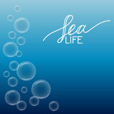 Beautiful sea background with bubbles and white hand-drawn Stock Photography