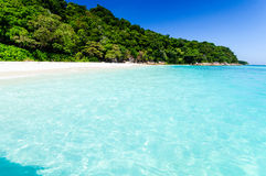 Beautiful sea with clear blue sky and island as background. Seascape or Landscape at similan island, andaman sea, pacific ocean Stock Photos
