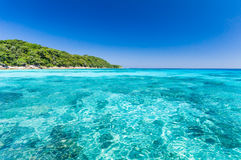 Beautiful sea with clear blue sky and island as background. Seascape or Landscape at similan island, andaman sea, pacific ocean Royalty Free Stock Photo