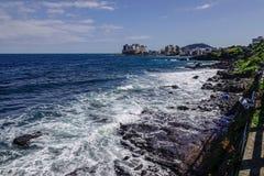 Beautiful sea and cliff in Jeju Island stock photography