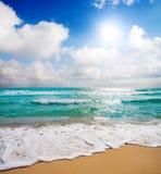 Beautiful sea and cloudy sky stock photos