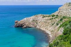 Beautiful sea coast. Beautiful rocky coast of Black sea stock photography